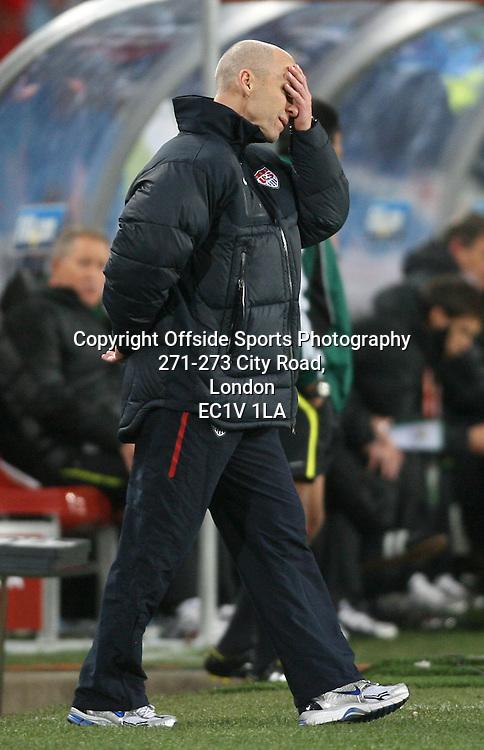 18/06/2010 - 2010 FIFA World Cup - Slovenia vs. USA - USA coach Bob Bradley looks dejected - Photo: Simon Stacpoole / Offside.