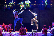 The Mad Hatter's Tea Party <br /> by Zoo Nation<br /> directed by Kate Prince<br /> presented by Zoo Nation, The Roundhouse & The Royal Opera House<br /> at The Roundhouse, London, Great Britain <br /> rehearsal <br /> 29th December 2016 <br /> <br /> Tommy Franzen as Ernest <br /> <br /> Issac Turbo Baptiste<br /> as the Mad Hatter <br /> <br /> <br /> <br /> Photograph by Elliott Franks <br /> Image licensed to Elliott Franks Photography Services