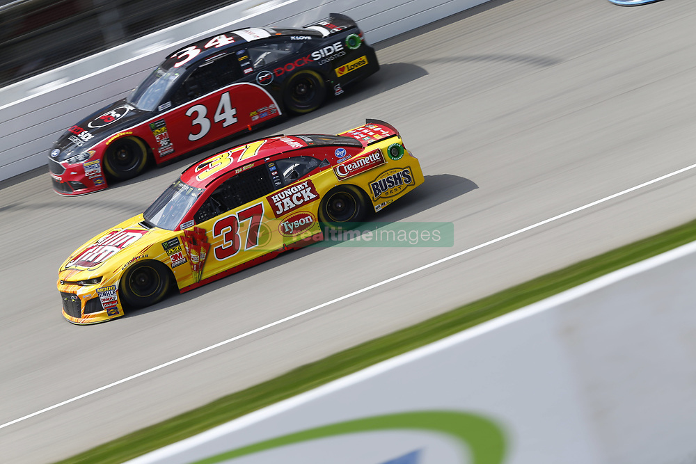 August 12, 2018 - Brooklyn, Michigan, United States of America - Chris Buescher (37) and Michael McDowell (34) battle for position during the Consumers Energy 400 at Michigan International Speedway in Brooklyn, Michigan. (Credit Image: © Chris Owens Asp Inc/ASP via ZUMA Wire)
