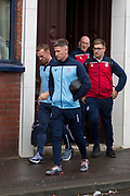 30th August 2019; Dens Park, Dundee, Scotland; Scottish Championship, Dundee Football Club versus Dundee United; Josh Meekings and Craig Curran of Dundee  leaves Dens Park for the short walk to Tannadice