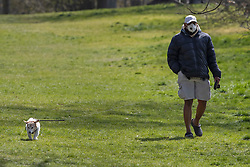 © Licensed to London News Pictures. 29/03/2020. London, UK. A man wears a medical mask as he walks his dog in Greenwich Park . The Government has announced a lockdown to slow the spread of Coronavirus and reduce pressure on the NHS. Photo credit: George Cracknell Wright/LNP