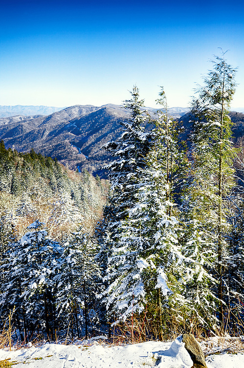 A splendid view from the top of the Smoky Mountains looking south towards North Carolina at Newfound Gap.