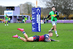 Tom Pincus of Bristol Bears United scores a try - Mandatory by-line: Paul Knight/JMP - 02/12/2018 - RUGBY - Clifton RFC - Bristol, England - Bristol Bears United v Harlequins - Premiership Rugby Shield