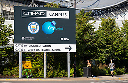 MANCHESTER, ENGLAND - Thursday, July 2, 2020: A general view of the City of Manchester Stadium ahead of the FA Premier League match between Manchester City FC and Liverpool FC. The game was played behind closed doors due to the UK government's social distancing laws during the Coronavirus COVID-19 Pandemic. This was Liverpool's first game as Premier League 2019/20 Champions. (Pic by Propaganda)