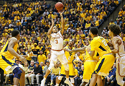 Jan 20, 2018; Morgantown, WV, USA; Texas Longhorns guard Jacob Young (3) shoots in the lane during the first half against the West Virginia Mountaineers at WVU Coliseum. Mandatory Credit: Ben Queen-USA TODAY Sports
