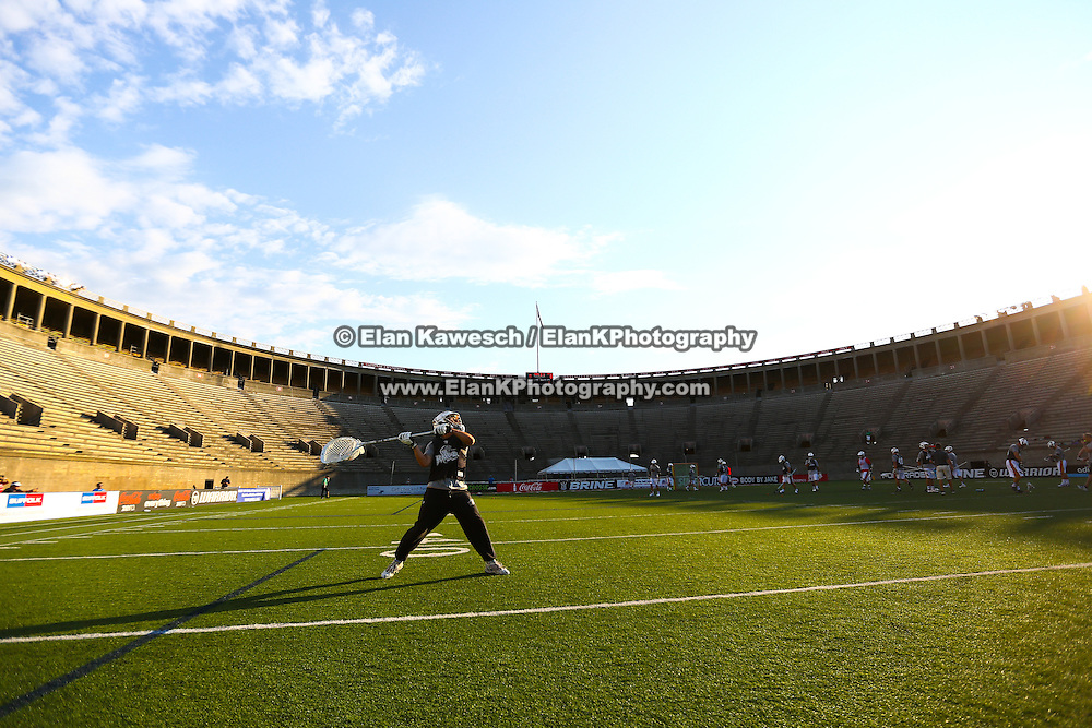 John Galloway #15 of the Rochester Rattlers warms up on the field prior to the game at Harvard Stadium on August 9, 2014 in Boston, Massachusetts. (Photo by Elan Kawesch)