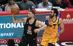 November 30, 2017 - Los Angeles, California, United States of America - Austin Rivers #25 of the Los Angeles Clippers tries to pass the ball away from Ricky Rubio #3 of the Utah Jazz on Thursday November 30, 2017 at the Staples Center in Los Angeles, California. Clippers lose to Jazz, 126-107. JAVIER ROJAS/PI (Credit Image: © Prensa Internacional via ZUMA Wire)