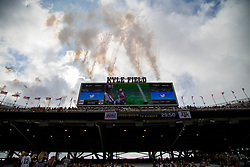 Fireworks go off above the scoreboard at Kyle Field before the start of an NCAA college football game between Texas A&M and Louisiana-Lafayette Saturday, Sept. 16, 2017, in College Station, Texas. (AP Photo/Sam Craft)