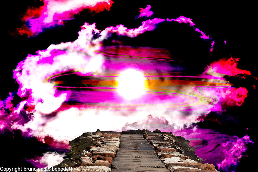 Surreal path to light on stone bridge upon violet vortex in surreal black sky takes to rising light surrounded by white and violet clouds
