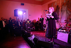 08 November 2014. New Orleans, Louisiana. <br />  2014 International Irish Famine Commemoration, Gallier Hall.<br /> Heather Humphreys, Irish Fine Gael politician and the Minister for Arts, Heritage and the Gaeltacht addresses the event.<br /> Photo; Charlie Varley/varleypix.com