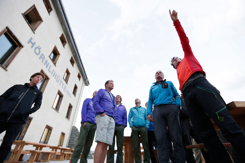 Zermatt guides on the eve of the 150th anniversary ascension of Matterhorn, marking the second date of 150th anniversary.<br /> <br /> &ldquo;Matterhorn 150 years Cervino&rdquo; - The year 2015 is the 150th Anniversary of the first ascent by Edward Whymper from the Swiss side (14th July) and by Jean Antoine Carrel from the Italian side on the 17th July 1865.<br /> On 17th July 2015 a friendship convention was signed by the members of Swiss, French, British and Italian climbing teams. A ceremony was held at the summit in honour of the mountain.