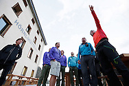 """Zermatt guides on the eve of the 150th anniversary ascension of Matterhorn, marking the second date of 150th anniversary.<br /> <br /> """"Matterhorn 150 years Cervino"""" - The year 2015 is the 150th Anniversary of the first ascent by Edward Whymper from the Swiss side (14th July) and by Jean Antoine Carrel from the Italian side on the 17th July 1865.<br /> On 17th July 2015 a friendship convention was signed by the members of Swiss, French, British and Italian climbing teams. A ceremony was held at the summit in honour of the mountain."""