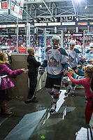 KELOWNA, CANADA - JANUARY 23: Devante Stephens #21 of Kelowna Rockets exits the ice against the Everett Silvertips on January 23, 2015 at Prospera Place in Kelowna, British Columbia, Canada.  (Photo by Marissa Baecker/Shoot the Breeze)  *** Local Caption *** Devante Stephens;