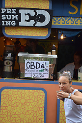 Latitude Festival, Henham Park, Suffolk, UK July 2019. Cafe selling CBD cannabis oil drinks