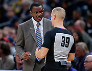 INDIANAPOLIS, IN - NOVEMBER 08: Dwane Casey head coach of the Detroit Pistons talks with NBA referee Tyler Ford at Bankers Life Fieldhouse on November 8, 2019 in Indianapolis, Indiana. NOTE TO USER: User expressly acknowledges and agrees that, by downloading and/or using this photograph, user is consenting to the terms and conditions of the Getty Images License Agreement (Photo by Michael Hickey/Getty Images) *** Local Caption *** Tyler Ford