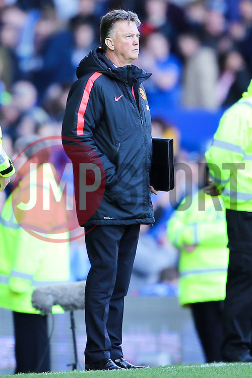Manchester United Manager, Louis van Gaal looks disappointed as he stands on the touch line at full time  - Photo mandatory by-line: Matt McNulty/JMP - Mobile: 07966 386802 - 26/04/2015 - SPORT - Football - Liverpool - Goodison Park - Everton v Manchester United - Barclays Premier League