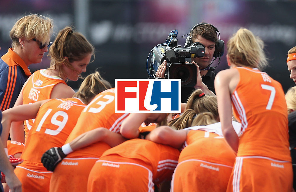LONDON, ENGLAND - JUNE 21:  A television camera films the Netherlands during the FIH Women's Hockey Champions Trophy match between Netherlands and USA at Queen Elizabeth Olympic Park on June 21, 2016 in London, England.  (Photo by Alex Morton/Getty Images)