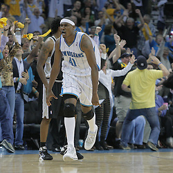 17 December 2008: New Orleans Hornets forward James Posey (41) reacts after hitting a three point basket to give the Hornets the lead late in the fourth quarter of a 90-83 victory by the New Orleans Hornets over the San Antonio Spurs at the New Orleans Arena in New Orleans, LA..