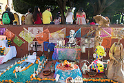 An altar known as an ofrenda decorated for Day of the Dead festival at the Jardin Principal in San Miguel de Allende, Guanajuato, Mexico. The week-long celebration is a time when Mexicans welcome the dead back to earth for a visit and celebrate life.