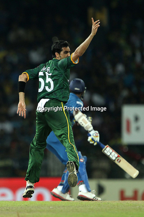 Umar Gul appeals for the wicket of Thisara Perera during the ICC World Twenty20 semi final match between Sri Lanka and Pakistan held at the Premadasa Stadium in Colombo, Sri Lanka on the 4th October 2012<br /> <br /> Photo by Ron Gaunt/SPORTZPICS