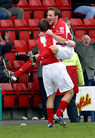 Photo: Dave Linney.<br />Crewe Alexander v Cardiff City. Coca Cola Championship. 17/04/2006.Crewe's David Vaughan (R) celebrates after making it 1-0