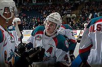 KELOWNA, CANADA - FEBRUARY 1: Gordie Ballhorn #4 of the Kelowna Rockets stands at the boards during a time out against the Calgary Hitmen on February 1, 2017 at Prospera Place in Kelowna, British Columbia, Canada.  (Photo by Marissa Baecker/Shoot the Breeze)  *** Local Caption ***