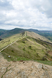 The Great Ridge walking from Lose Hill and Back Tor towards Looking back along the Great Ridge towards Mam Tor near Castleton in the Hope Valley <br /> <br />  19 April  2015<br />  Image © Paul David Drabble <br />  www.pauldaviddrabble.co.uk