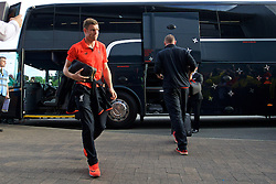 BURTON-UPON-TRENT, ENGLAND - Tuesday, August 23, 2016: Liverpool's James Milner arrives ahead of the Football League Cup 2nd Round match against Burton Albion at the Pirelli Stadium. (Pic by David Rawcliffe/Propaganda)