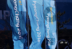 Pyeong Chang 2018 flags during a preview day at the Alpensia Sports Park, ahead of the PyeongChang 2018 Winter Olympic Games in South Korea.