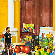 Art by local artists for sale in the Old City, Cartagena, Colombia.