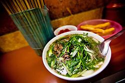 Bowl of Pho Bo (beef noodle soup), a famous vietnamese dish, Hanoi, Vietnam, Southeast Asia
