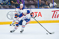 PENTICTON, CANADA - SEPTEMBER 16: Patrick Russell #52 of Edmonton Oilers skates with the puck against the Vancouver Canucks on September 16, 2016 at the South Okanagan Event Centre in Penticton, British Columbia, Canada.  (Photo by Marissa Baecker/Shoot the Breeze)  *** Local Caption *** Patrick Russell;