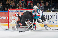 KELOWNA, CANADA - FEBRUARY 28: Tyrell Goulbourne #12 of Kelowna Rockets tries to make a backhanded goal against the Calgary Hitmen on February 28, 2015 at Prospera Place in Kelowna, British Columbia, Canada.  (Photo by Marissa Baecker/Shoot the Breeze)  *** Local Caption *** Tyrell Goulbourne;