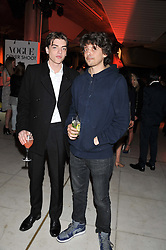 Left to right, brothers SASCHA BAILEY and FENTON BAILEY at the Vogue Festival Party 2013 in association with Vertu held at the Queen Elizabeth Hall, Southbank Centre, London SE1 on 27th April 2013.