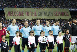Welcome to the Catalan Republic, protest for independence of Catalonia during the UEFA Champions League group D match between FC Barcelona and Juventus FC  on September 12, 2017  at the Camp Nou stadium in Barcelona, Spain.