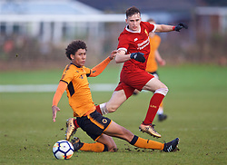 WOLVERHAMPTON, ENGLAND - Tuesday, December 19, 2017: Liverpool's Liam Millar and Wolverhampton Wanderer's Dion Sanderson during an Under-18 FA Premier League match between Wolverhampton Wanderers and Liverpool FC at the Sir Jack Hayward Training Ground. (Pic by David Rawcliffe/Propaganda)