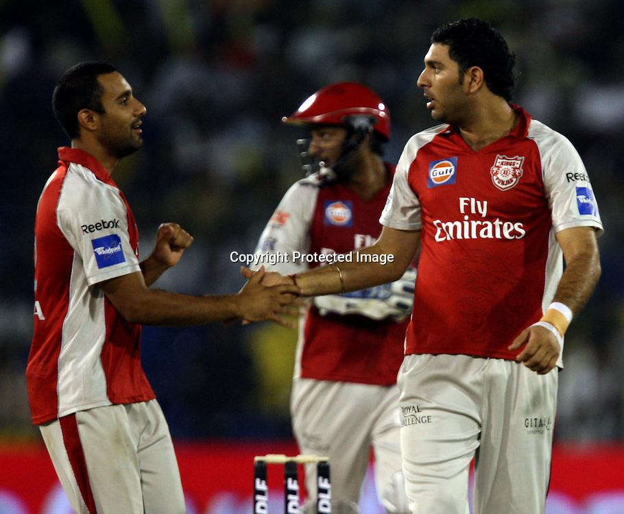 Kings XI Punjab Bowler Yuvraj Singh Celebrates With Team Mate Ravi Bapara  Deccan Chargers Batsman Herschelle Gibbs Wicket During The DLF IPL-3 Twenty-20 Played at- Barabati Stadium , Cuttack 19 March 2010 Day/night
