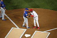 October 6, 2017 - Washington, DC, USA - Chicago Cubs manager Joe Maddon and Washington Nationals manager Dusty Baker, right, greet each other before Game 1 of a National League Division Series on Friday, Oct. 6, 2017, at Nationals Park in Washington D.C. (Credit Image: © Chris Sweda/TNS via ZUMA Wire)