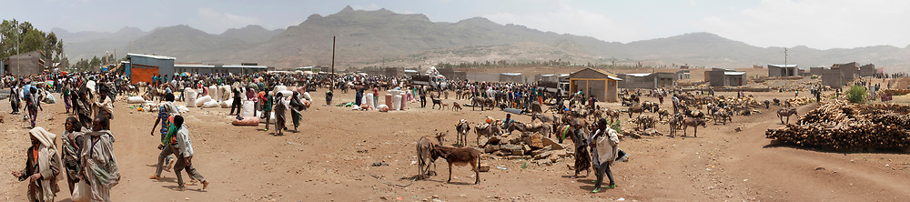 A monthly grain market in Adigudum, an arid region south of  Mekelle.
