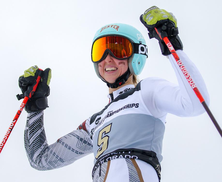 Kristine Gjelsten Haugen of Denver University, during the NCAA Skiing Championships Giant Slalom on Wednesday March 9, 2016 at Steamboat, CO. (Dustin Satloff)