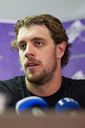 Anze Kopitar at press conference of Anze Kopitar before departure to USA, on September 10, 2012 in Ice hall, Bled, Slovenia. (Photo by Matic Klansek Velej / Sportida.com)