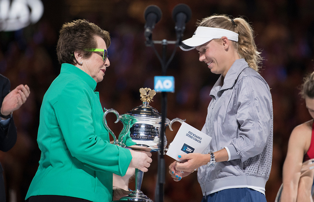 Caroline Wozniacki of Denmark with Billie Jean King during the trophy presentation after winning the women's singles championship match during the 2018 Australian Open on day 13 in Melbourne, Australia on Saturday night January 27, 2018.<br /> (Ben Solomon/Tennis Australia)