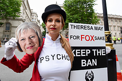 &copy; Licensed to London News Pictures. 29/05/2017. London UK. TV wildlife presenter Anneka Svenska joins demonstrators in an &quot;Anti-Hunting March&quot; in central London, marching from Cavendish Square to outside Downing Street.  Protesters are demanding that the ban on fox hunting remains, contrary to reported comments by Theresa May, Prime Minister, that the 2004 Hunting Act could be repealed after the General Election.<br />  Photo credit : Stephen Chung/LNP