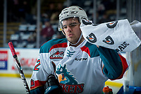 KELOWNA, CANADA - FEBRUARY 17:  Erik Gardiner #12 of the Kelowna Rockets grabs a towel off the bench during warm up against the Edmonton Oil Kings on February 17, 2018 at Prospera Place in Kelowna, British Columbia, Canada.  (Photo by Marissa Baecker/Shoot the Breeze)  *** Local Caption ***