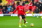 Watford midfielder Tom Cleverley (8) warms up during the Premier League match between Watford and Bournemouth at Vicarage Road, Watford, England on 26 October 2019.