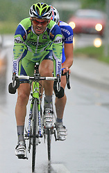 Gorazd Stangelj of Slovenia (Liquigas) and Jure Zrimsek of Slovenia (Adria Mobil) escaped but they were caught in Novo mesto in last 4th stage of the 15th Tour de Slovenie from Celje to Novo mesto (157 km), on June 14,2008, Slovenia. (Photo by Vid Ponikvar / Sportal Images)/ Sportida)