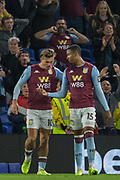 Jack Grealish (Aston Villa) celebrates his goal to give Aston Villa FC a 3-1 lead during the EFL Cup match between Brighton and Hove Albion and Aston Villa at the American Express Community Stadium, Brighton and Hove, England on 25 September 2019.