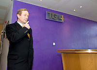 The TG4 debate in Baile na hAbhainn Co. Galway  Enda Kenny FG  leaving the Building in Connemara, Galway  . Photo:Andrew Downes. .