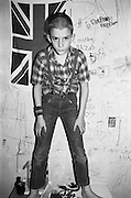 Nev in the Bedroom with Union Jack, Hawthorne Rd, High Wycombe, UK, 1980s.