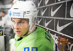 Ales Kranjc of Slovenia in penalty box during the 2017 IIHF Men's World Championship group B Ice hockey match between National Teams of Slovenia and Norway, on May 9, 2017 in Accorhotels Arena in Paris, France. Photo by Vid Ponikvar / Sportida